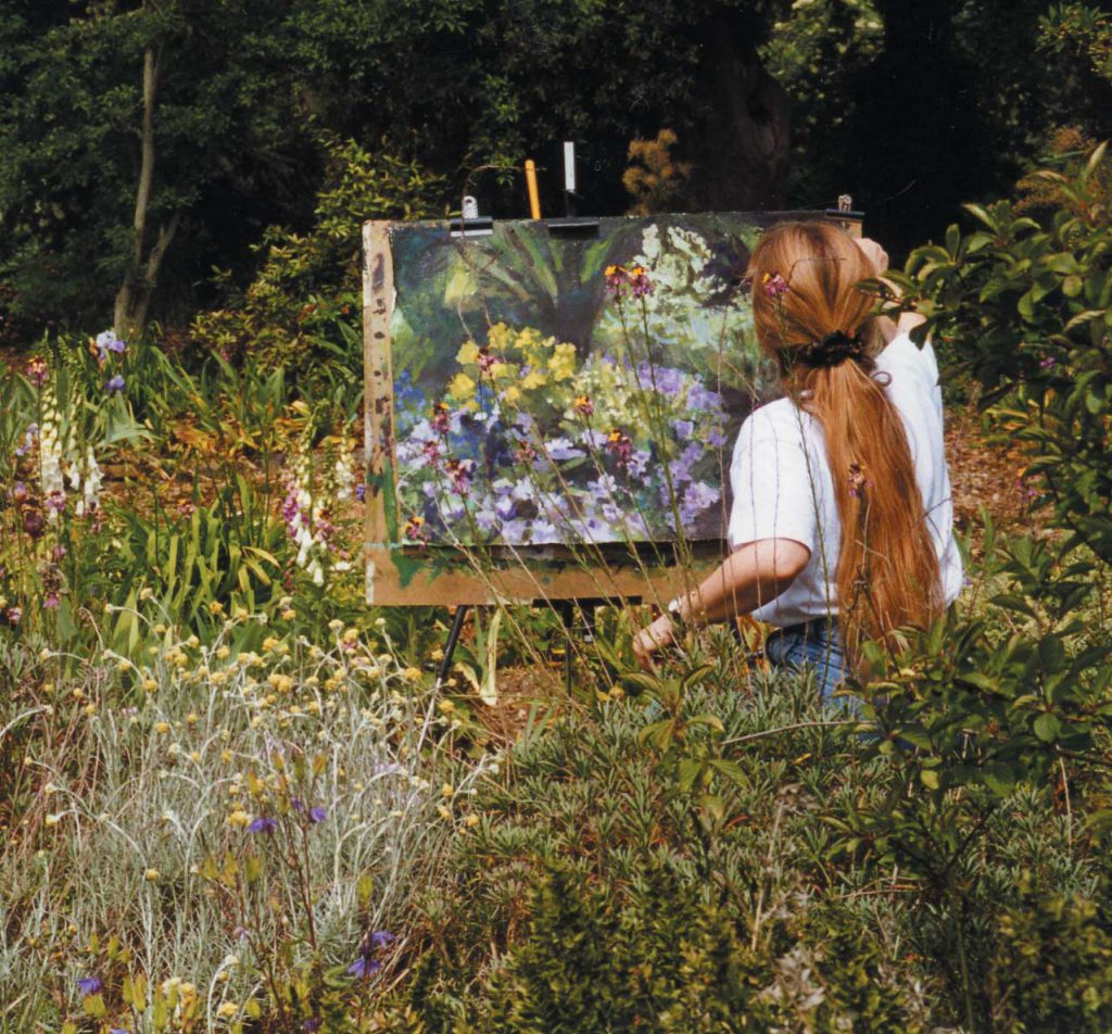 Denise Wyllie painting at Bowles' garden
