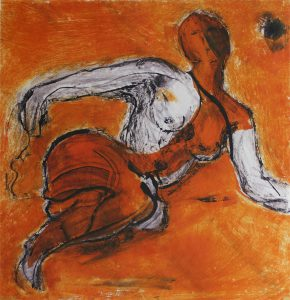 Nude Series - Woman floats in a sea of orange