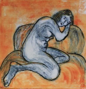Nude Series - Woman Rests on a Sofa of Orange