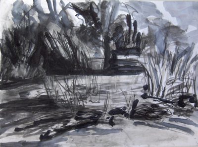 Painting of Friston Pond