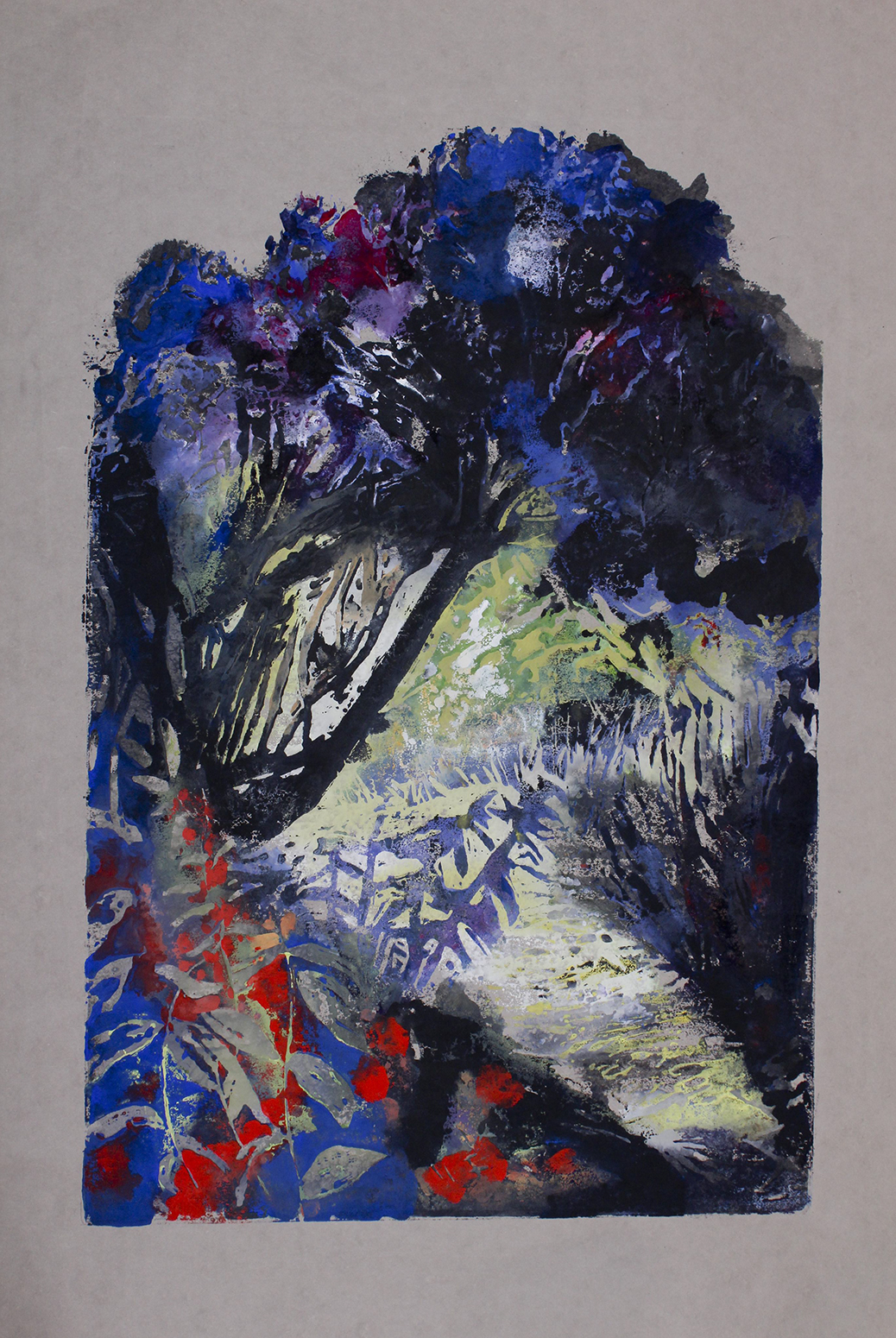 Light through trees - blue black red