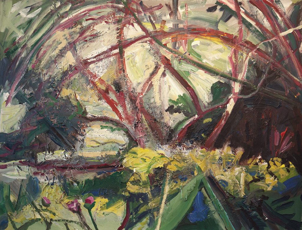 Spring garden at Myddelton with red branches smernium and peony large impasto textured painting on canvas