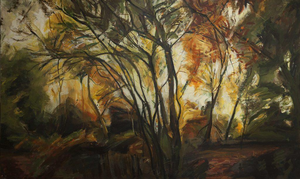 Hampstead Autumn long painting on board