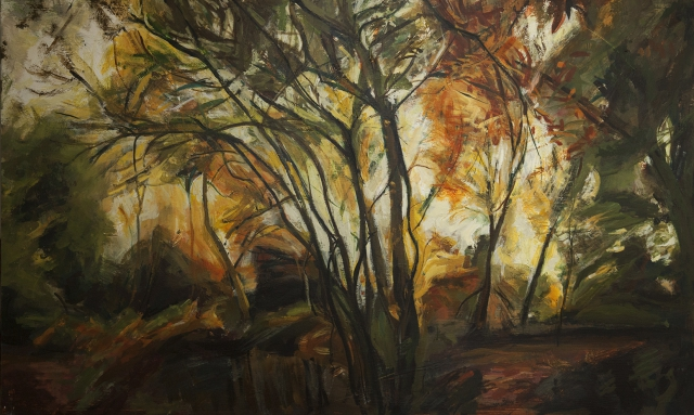 Hampstead Autumn long painting on board