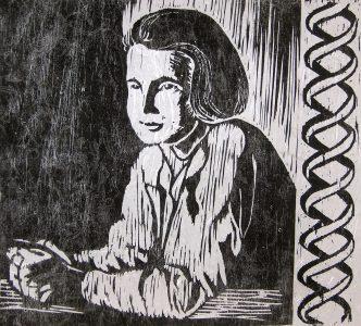 Rosalind Franklin with DNA
