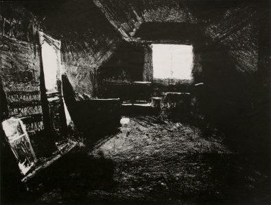 Dark attic two mirrors