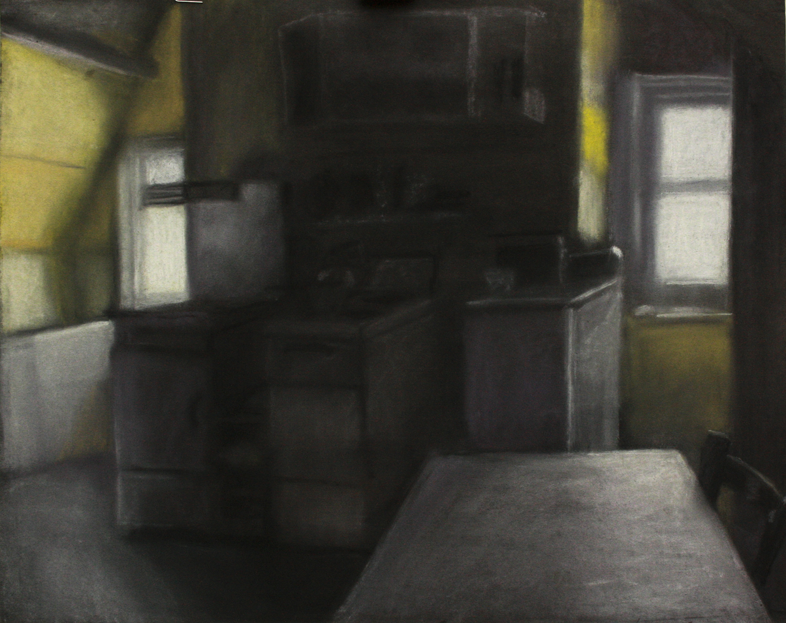 A pastel drawing of kitchen in The Goffs attic flat, Eastbourne