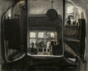 Pastel drawing of triptych dressing table mirror in The Goffs attic flat, Eastbourne