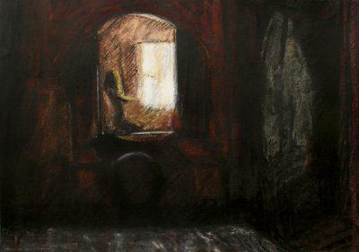 Triptych Mirror Dark bedroom Portrait