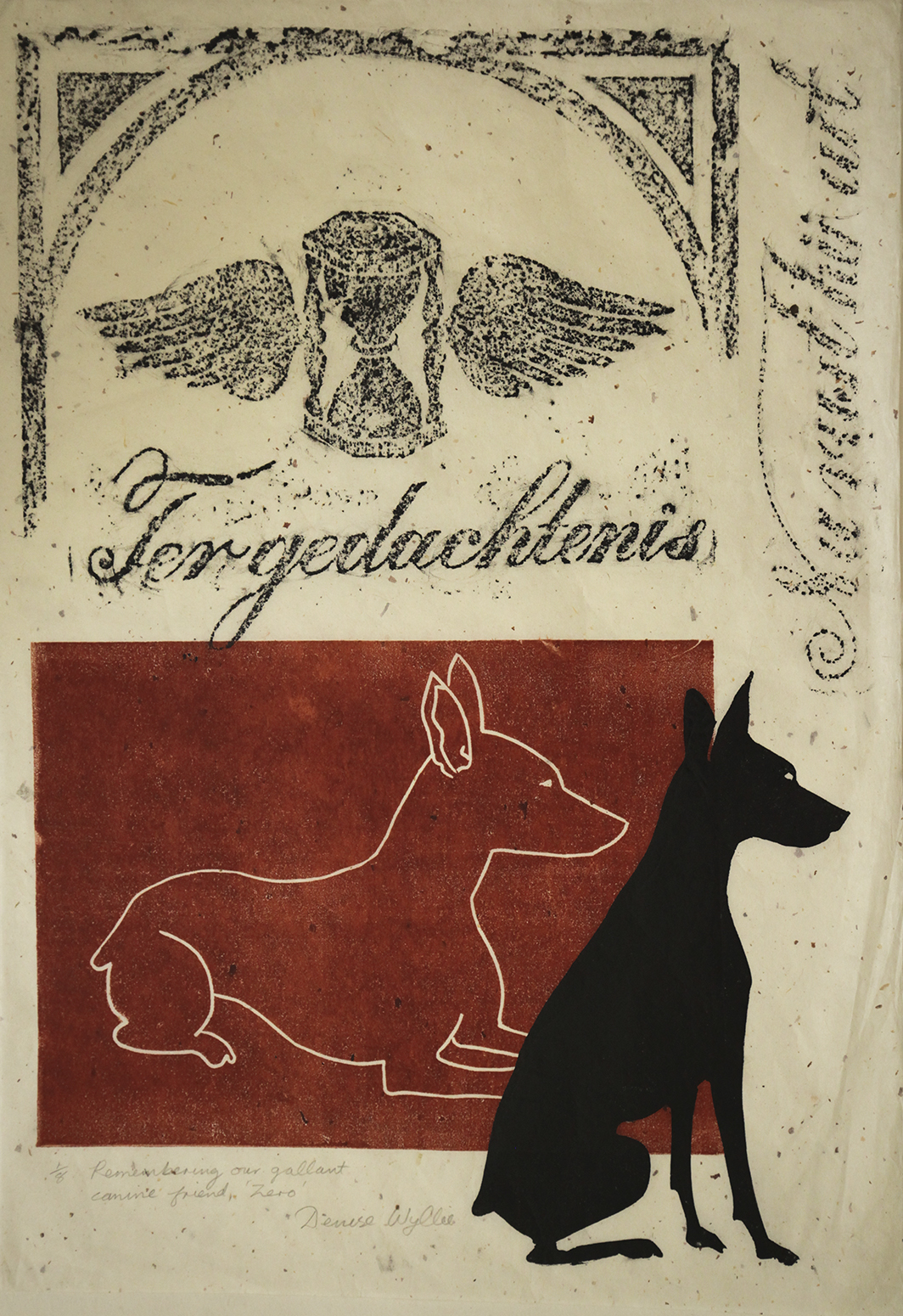 Denise Wyllie mono type relief print and rubbing titled Remembering our gallant canine friend Zero