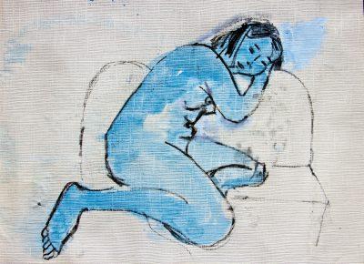 Nude with head on sofa