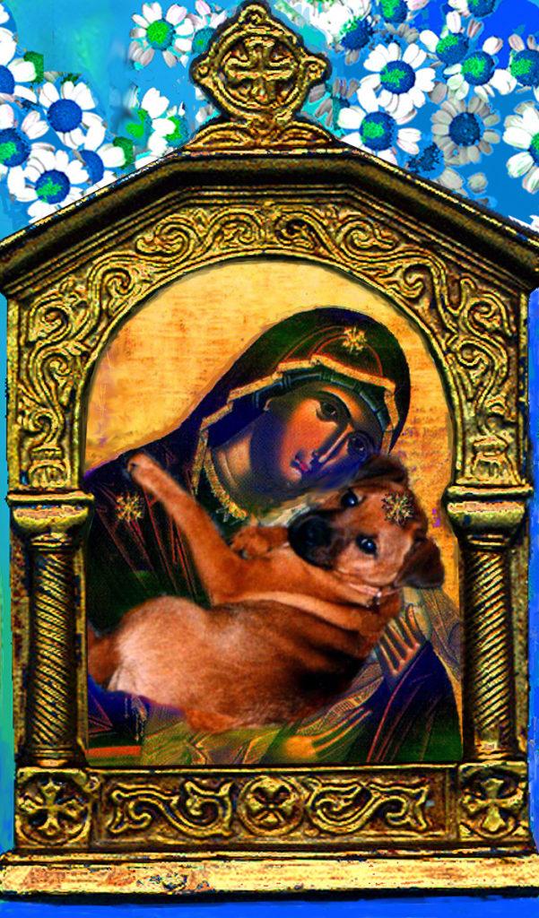 Digital Art, Gentle Madonna with her terrier, Madonna,  Denise Wyllie, art, artist, Karelia, Sabina Nedbailik, Сабина Недбайлик, Masha Yufa, Sergei Terentjev, Andrey Kurochkin