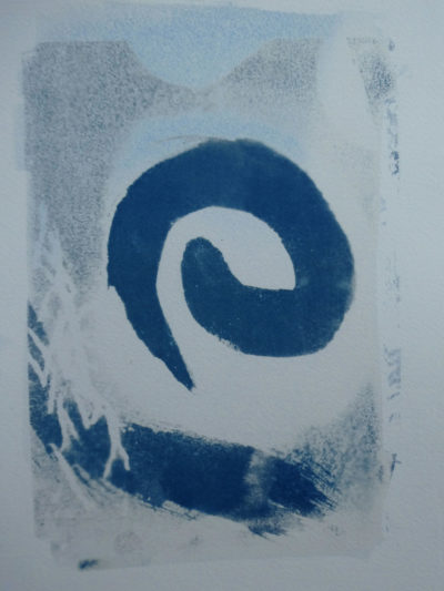 Abstract cyanotype print