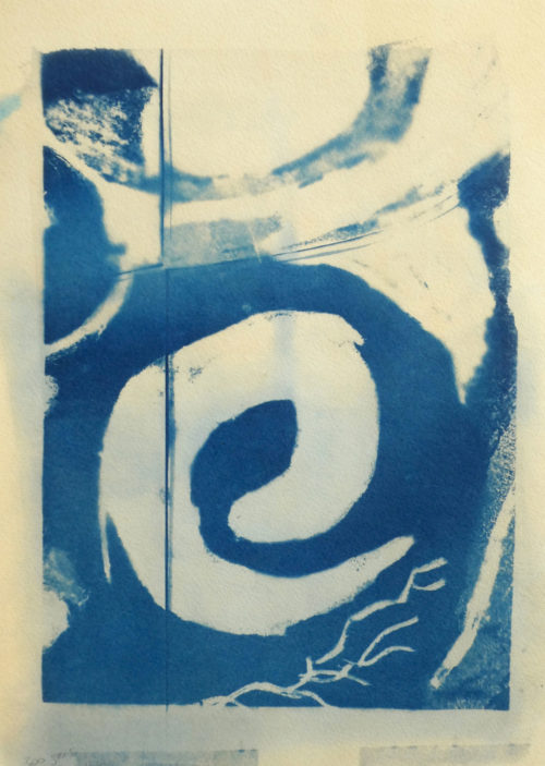 Abstract cyanotype print